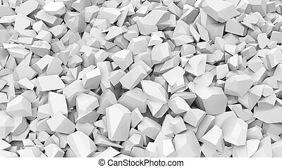 White pebbles pile abstract background.