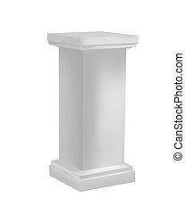 White pedestal - Three dimensional pedestal, isolated...