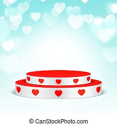 White pedestal with red hearts.