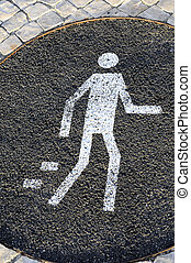 pedestrian sign on the street,