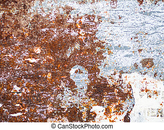 White peeled painted steel with metal rust texture