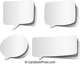 Set of white, peeling speech bubbles. Colors in gradients are global, so they can be changed easily. Each element is grouped individually for easy editing. File version is EPS 10 with transparency and blending modes.