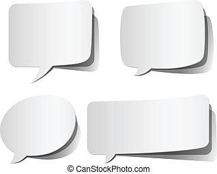 White Peeling Speech Bubbles - Set of white, peeling speech ...