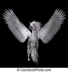 White Pegasus on Black - Pegasus is a lengendary divine...