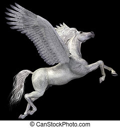 White Pegasus Profile - A magical white Pegasus spreads its...