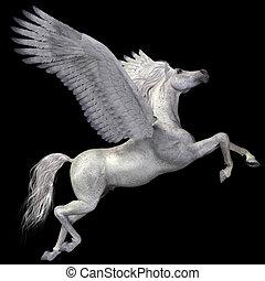 White Pegasus Profile - A magical white Pegasus spreads its...