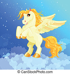 White Pegasus with a golden mane and tail