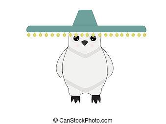 white penguin in sombrero on white background