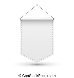 white pennant template vector empty 3d pennant banner blank