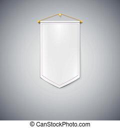 White pennant on white background. - White pennant hanging...
