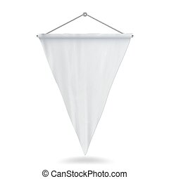 White Pennant Template Vector Illustration. Empty 3D Pennant Mock Up.