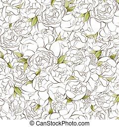 White peonies background