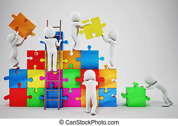 White people build a company. Concept of parthership and teamwork. 3D rendering
