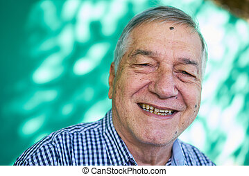 White People Portrait Happy Senior Man Smiling At Camera - ...