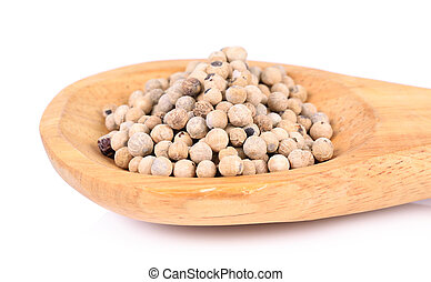 White pepper in wooden spoon on whit background