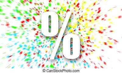 White percent sign over colorful confetti background.