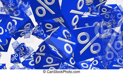 White percents on blue toy cubes