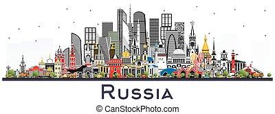 white., perfil de ciudad, aislado, edificios, rusia, color