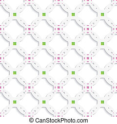 White perforated ornament with green pink seamless
