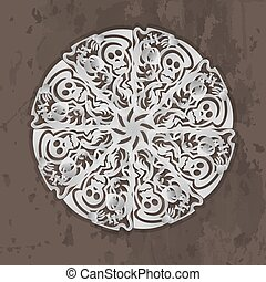 White perforated paper with free form pattern and skull on brown grunge background