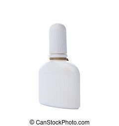 White perfume bottle isolated on white background.