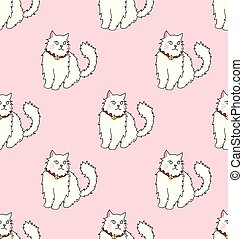 White Persian Cat on Pink Background