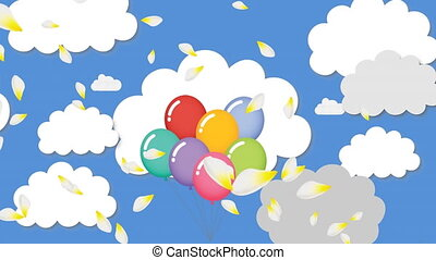 Animation of multi coloured balloons and white petals flying over clouds on blue background. Celebration fun entertainment concept digitally generated image.