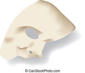 White phantom of the opera half face mask isolated on white background