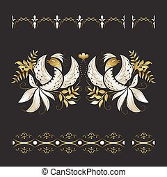 White phoenix birds with gold leaves ornament.