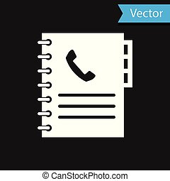 White Phone book icon isolated on black background. Address book. Telephone directory. Vector Illustration