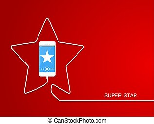 White Phone charging in star style. Smarthone, line wire isolated on red background. Cellphone, sparkle screen. Minimalism Outline earphone. Trendy celebration simple Vector illustration banner, card.