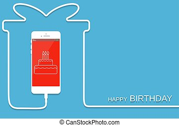 White Phone charging in style gift. Surprise Smartphone with line wire. Present Cellphone, cake screen. Minimalism, Outline earphone. Trendy simple Vector illustration banner, card, template design.