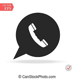 white phone handset in speech bubble vector icon