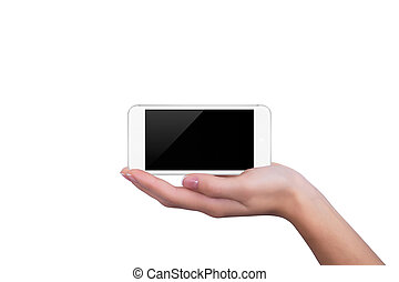 White phone lying on the hand of the girl