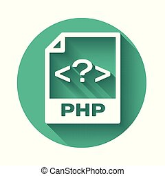 White PHP file document icon. Download php button icon isolated with long shadow. PHP file symbol. Green circle button. Vector Illustration