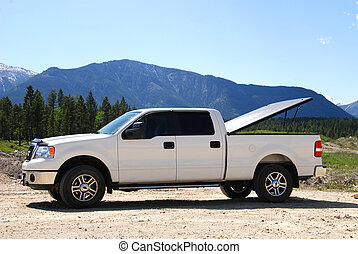 White Pick-up truck - Pick-up truck on a dirt road in the...