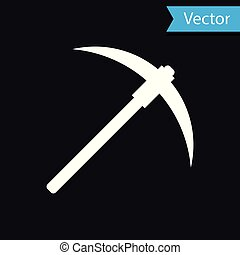 White Pickaxe icon isolated on black background. Blockchain technology, cryptocurrency mining, bitcoin, digital money market, cryptocoin wallet. Vector Illustration