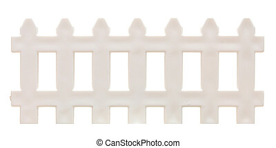 white picket fence isolated on white.