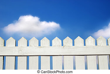 white picket fence - White picket fence and blue sky