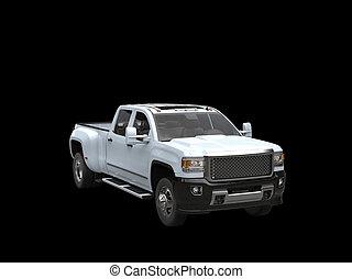 White pickup truck - on black background
