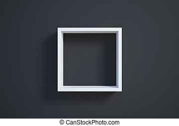white picture frame on black wall