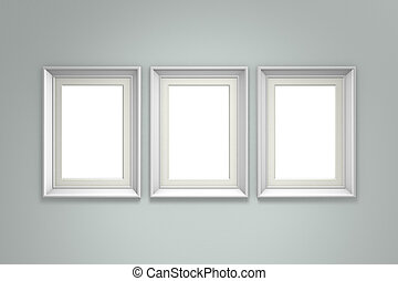 White picture frame on gray wall