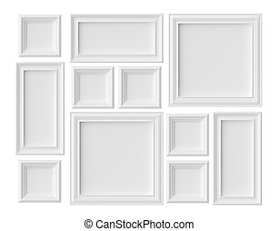 White blank picture or photo frames isolated on whitel with shadows, white colorless picture frames template set, art frames mock-up 3D illustration