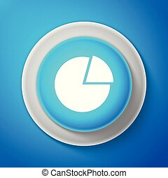 White Pie chart infographic icon isolated on blue background. Diagram chart sign. Circle blue button with white line. Vector Illustration