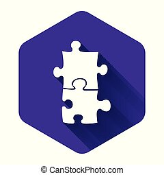 White Piece of puzzle icon isolated with long shadow. Business, marketing, finance, template, layout, infographics, internet concept. Purple hexagon button. Vector Illustration