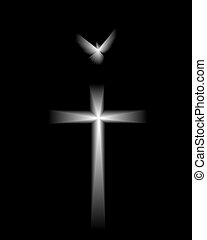 White dove and cross on a black background