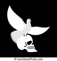 White pigeon and skull. Dove and skeleton head. Vector illustration