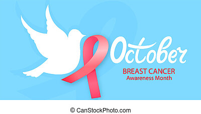 White pigeon with a pink ribbon. National Cancer Awareness Month concept.