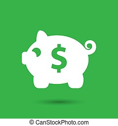 white piggy bank icon on the green background