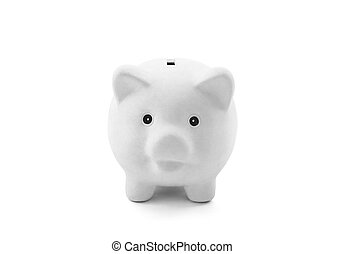 White piggy bank with clipping path